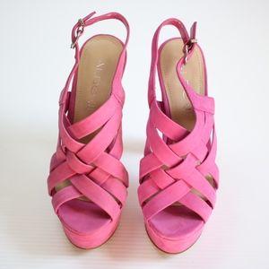Aldo Pink Lilac Strappy Platform Heels Size 6